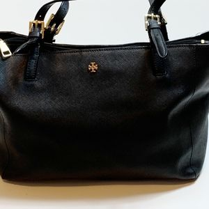 Tory Burch Emerson Small Black Leather Tote Bag